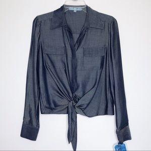 ANTONIO MELANI Blue Tie Waist Button Front Top XS